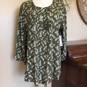 Sonoma Size XL Green Peasant Top Blouse